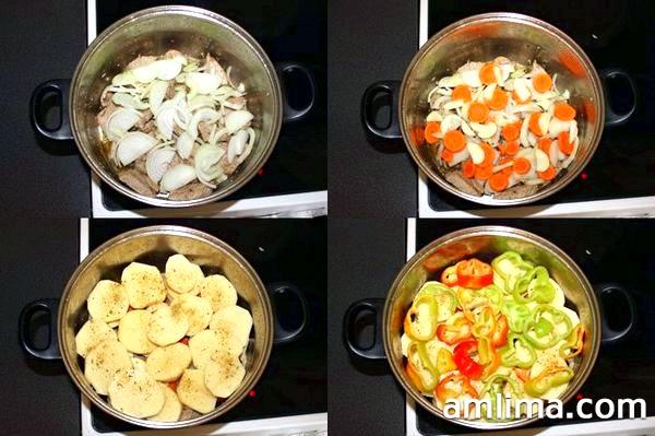 Викладаємо цибулю, моркву, часник, картопля, перець