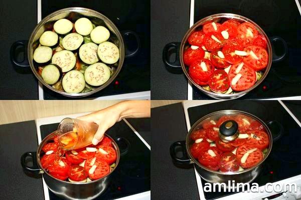 Кладемо баклажани, помідори, заливаємо пивом і ставимо на повільний вогонь