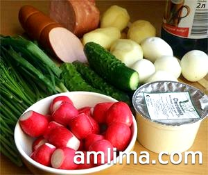 Продукти для окрошки на майонезі