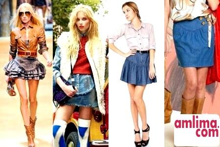 Модні і стильні короткі джинсові спідниці - 2015