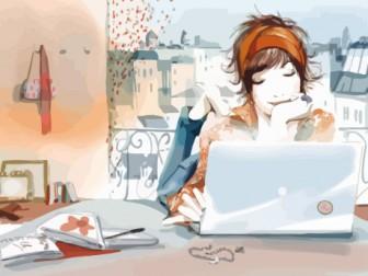 Фото - дівчина ноутбук та інтернет